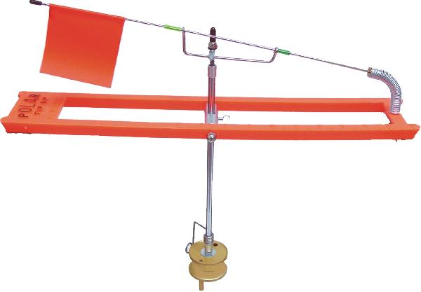 "Ultra smooth, multiple-designed Trip Shaft. Guaranteed not to ""Freeze-Up"" in sub zero temps.  Frame has unique V-Shape for easy removal from ice. Unique LINEGUIDE designed for easy in and out placement, yet LINEGUIDE holds line in while fishing. Ends on frame for fast line pick-up. The FLAG WIRE is on a slight angle so it can be placed on either side of TRIP SHAFT for light or heavier trips for the use of larger bait. Three holes in bottom of reel for hooking your hook to keep leaders straight. Entire unit weighs only 11 3/4 oz. for easy transport. Polar Tip-Ups made of solid, high-impact black or orange plastic material that is STRONGER THAN WOOD. (All PTU or PTE Tip-Ups have [Wind trip] free wire)."