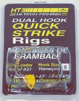 HT Quick Strike rigs are equipped with two two-tone fluorescent blades and are make with super strong braided wire leaders. The rigs use 27# test leader, #4 or #6 single slide-action front treble hook, and #4 fixed position treble hook.